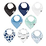 Parker Baby Bandana Drool Bibs – 8 Pack Baby Bibs for Boys, Girls, Unisex -''Arctic Set''