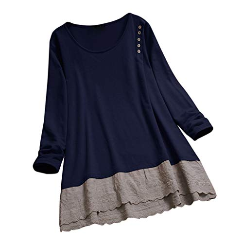 JOFOW Shirts Womens Plus Size Cotton Linen Solid Patchwork Lace Hem Long Sleeve Loose Tops Crew O Neck Casual Blouses Gift (L,Navy)]()