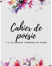 Cahier de poésie et chants 17x22: Carnet de poésie et de chants – Pages blanches pour le dessin et carreaux pour les chants –petit format 17x22 et grands carreaux (96 pages) - Couverture de très bonne qualité