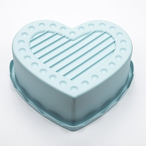 Heart Shape Silicone Baking Mold Nonstick Cake Pan 9 Inch Baking Pan Big for Cake Bread Pie Flan Tart DIY - FDA & BPA Free (9.8''x9''x2.8'') - Blue by DOSHH (Image #3)