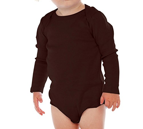 Kavio! Unisex Infants Lap Shoulder Long Sleeve Onesie Brown 24M -