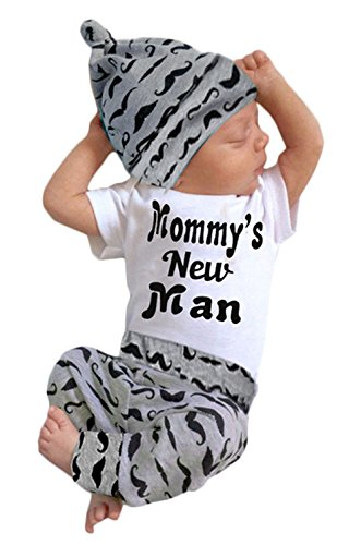 EGELEXY Baby Boys Summer Mamy's New Man Letter Short Sleeve T-Shirt + Pant+ Hat 3pcs Size 0-6 Months (Grey)]()