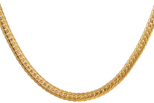 Areke 18K Gold Plated Necklace for Men - Jewelry 2 Colors 6 MM Wide Snake Chain Necklace ,18