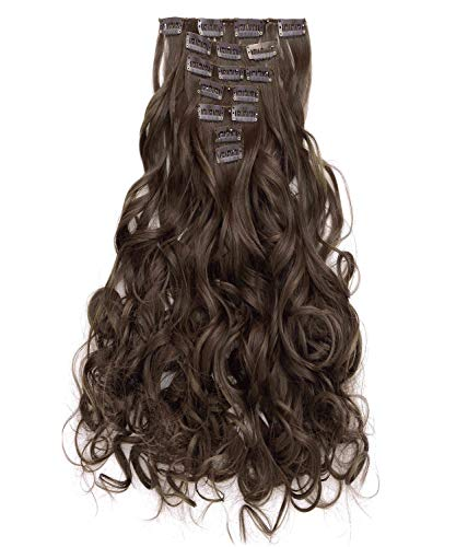 """OneDor 20"""" Curly Full Head Clip in Synthetic Hair Extensions 7pcs 140g (8#-Medium Ash Brown)"""