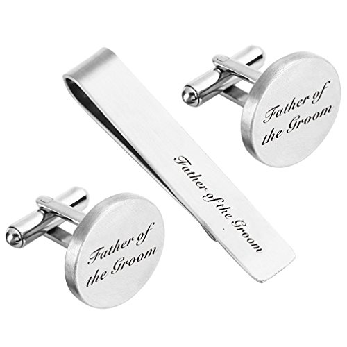 ZUNON Father of The Groom Cufflink Engraved Text Father Dad Personalized Wedding Custom Tie Clip Tack (Father of The Groom Cufflinks and tie Clip)