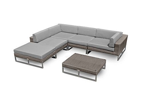 Mango Home Outdoor Patio Furniture Modern 6 Piece All-Weather Wicker Sofa Sectional Set (Austin Modern Sofa)