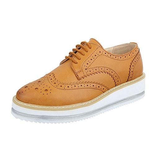Ital-Design - Zapatos Planos con Cordones Mujer Camel 56255