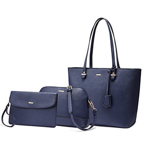 Navy Leather Handbag - 7