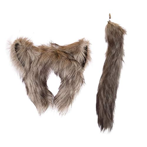 Wildlife Tree Plush Wolf Ears Headband and Tail Set Wolf Costume, Cosplay, Pretend Animal Play or Forest Animal Costumes -