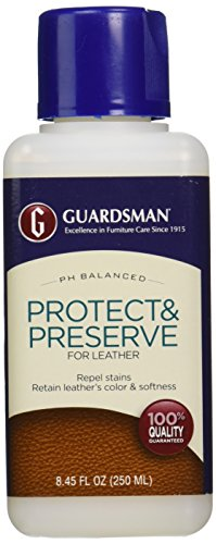 Guardsman Protect & Preserve For Leather 8.4 oz - Repels Stains, Retains Color and Softness, Great for Leather Furniture & Car Interiors - 471000 (Z Best Leather Cleaner)