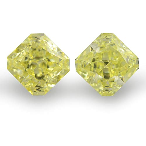 Leibish & Co 2.07Cts Fancy Yellow Loose Diamond Natural Color Radiant Cut Pair GIA Cert