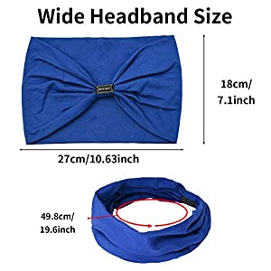 6 Packs Wide Knotted Headband Elastic Boho Hairbands Stretchy Head Wraps Scarfs for Women Colored Athletic Headwear…