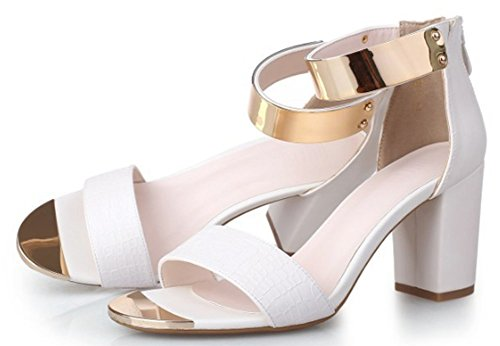 Aisun Woman's Sexy Metal Open Toe Chunky Heel Sandals White plhCcwQY7