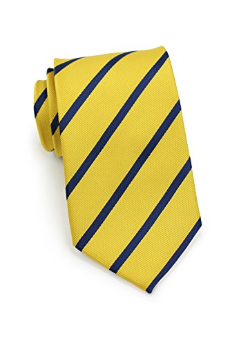 Matte Stripe (Bows-N-Ties Men's Necktie Classic Repp Stripe Microfiber Matte Tie 3.25 Inches (Yellow and Navy Blue))