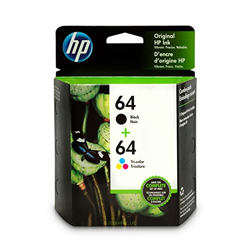 HP 64 Black & Tri-Color Ink Cartridges, 2 Cartridges (N9J90AN, N9J89AN) for HP ENVY Photo 6252 6255 6258 7155 7158 7164 7855 7858 7864 HP ENVY 5542 140 Retail Combo Pack