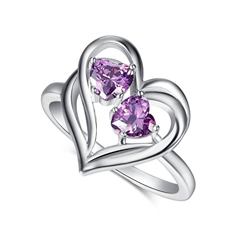 [Psiroy 925 Sterling Silver Elegant Amethyst Double Heart Filled Ring for Women] (Princess Daisy Costumes Pattern)