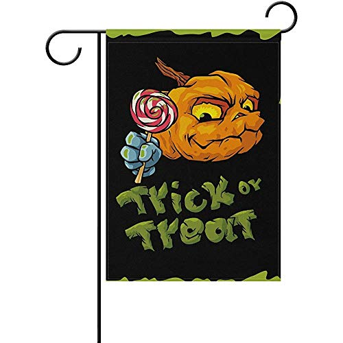 Yunnstrou Halloween Trick or Treat Cartoon Pumpkin Garden Flag Best for Party Yard and Home Outdoor Decor - 12x18 inches ()