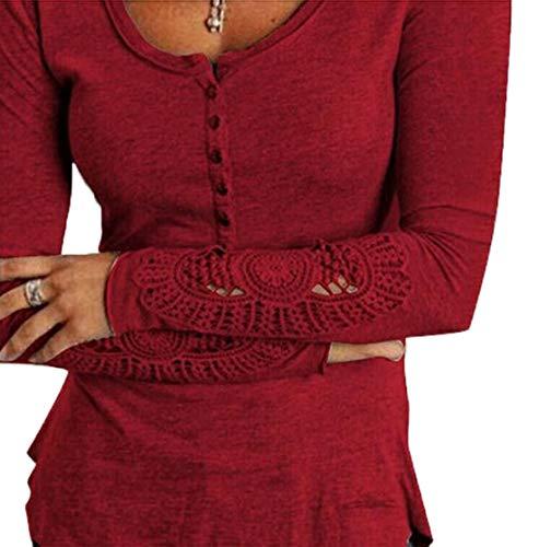 Longues Shirts Tee Rouge Slim Manches Dentelle Printemps Casual Shirt Femmes T Automne Tops Chemisiers Blouse Hauts Mode et Vin Jumpers pissure ZZRUn0f