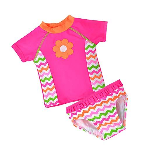 Toddler Baby Girl Two Piece Tankini Swimsuit Set Kids Infant Cute Short Sleeve Bikini Bathing Suit UPF 50+
