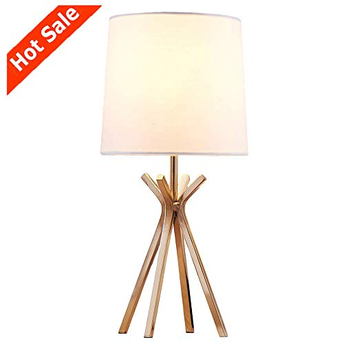 (Popilion Noble Gold Metal Base Table Lamp,Elegant Table Lamp with White TC Fabric Lampshade for Bedroom Living Room Study Room)