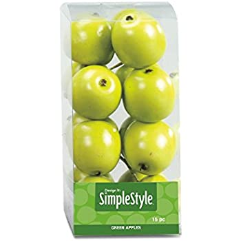 FloraCraft SimpleStyle 15-Piece Mini Decorative Fruit, Green Apple