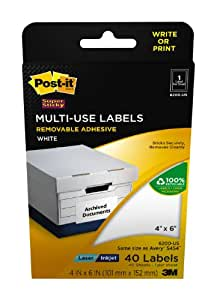 Post-it(R) Multi-Use Labels, 4 x 6 Inches (101 mm x 152 mm) (6200-US)