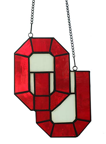 Suncatcher Stained Glass NCAA OKLANHOMA Logo Sooners Letter OU Alphabet Decoration T, 6