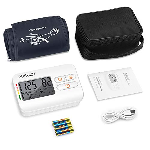 Blood Pressure Monitor Upper Arm, Puruizt Accurate Automatic Digital Blood Pressure Machine with Wide-Range Adjustable Cuff, Large Display and 2x120 Readings Memory Dual Users Mode for Home Use