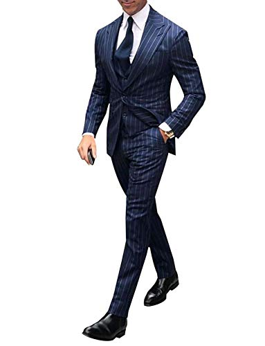 - YZHEN Men's Pinstripe Suit Navy Blue Peaked Lapel Jacket Tux Vest Trousers Dress Suit