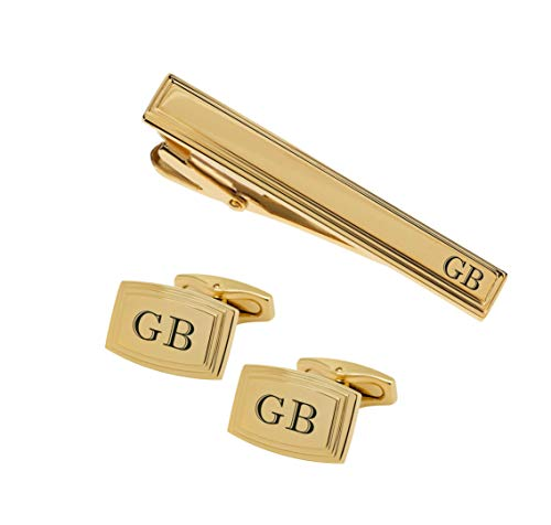 Personalized Gold Beveled Edge Cufflinks & Tie Clip Set Monogram Custom Engraved Free