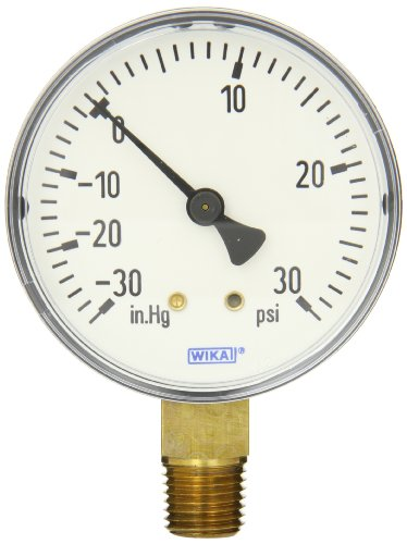 WIKA 4253043 Commercial Pressure Gauge, Dry-Filled, Copper Alloy Wetted Parts, 2-1/2