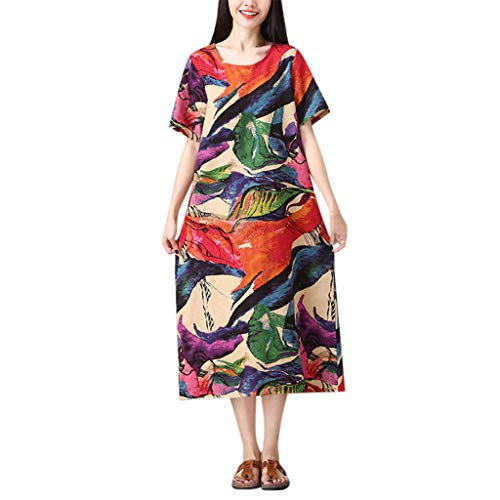 Women O-Neck Short Sleeve Dress TANGSen Ladies Summer Fashion Cotton and Linen Loose Printing Beach Casual Dress Red