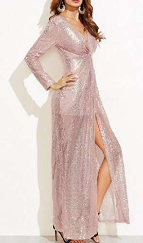 Ouverture Latérale Confortables Pour Femmes Manches Longues V Cou Robes Taille Lanières D'or