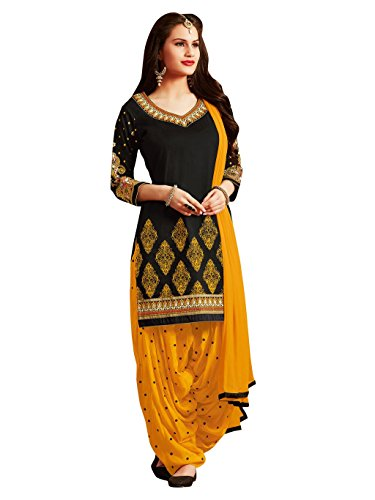 Kvsfab Women's Cotton Salwar Suit (KVSSK7052PA_41_Free Size_Black & Yellow)