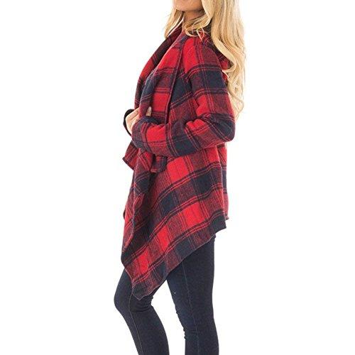 Lana Outwear Invierno Abrigo Outerwear Moda Chaqueta Jerseys Primavera Mujer Larga Cómodo Irregular Chal Otoño A Sudaderas Manga Anchos Joven Casual De Cuadros Rot Elegantes Fashion H4qBAxrwH