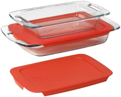 Pyrex Easy Grab 8 piece Bake and Store set includes 1-ea 3 quart oblong,8 inch s