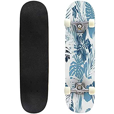 Classic Concave Skateboard Summer Camouflage Hawaiian Seamless Pattern with Tropical Plants and Longboard Maple Deck Extreme Sports and Outdoors Double Kick Trick for Beginners and Professionals : Sports & Outdoors