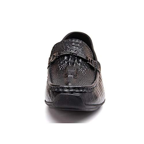 Yaxuan Ocasionales Negocios Hombre Deslizamiento Negro Mocasines Invierno Cuero Otoño Y Descanso Conducción Confort De Zapatos rxHgwYq0r