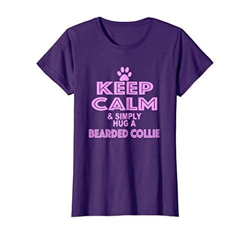 Womens Keep Calm & Simply Hug a Bearded Collie Large Purple