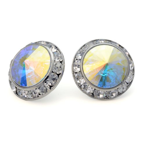 PammyJ Aurora Borealis 20mm Round Crystal Framed Post Earrings ()