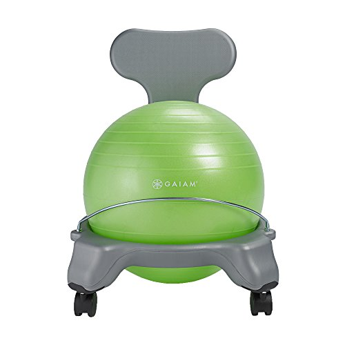 Gaiam Kids Balance Ball Chair - Classic Children's Stability Ball Chair, Child Classroom Desk Seating, Green