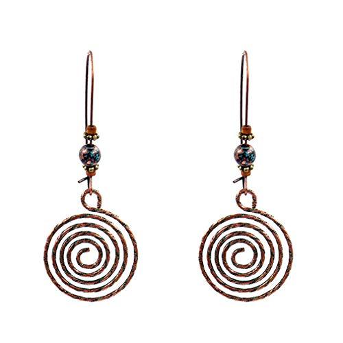 (Yunzee Spiral Earrings Round Disc Pattern Beads Hollow Pendant Bohemian Vintage Ear Studs Hoop Ethnic Creative)