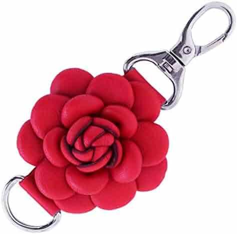 50a212b2c Genuine Leather Handmade Rose Charms | Pom Pom Keychain | for Tassel Bags  Purse Backpack