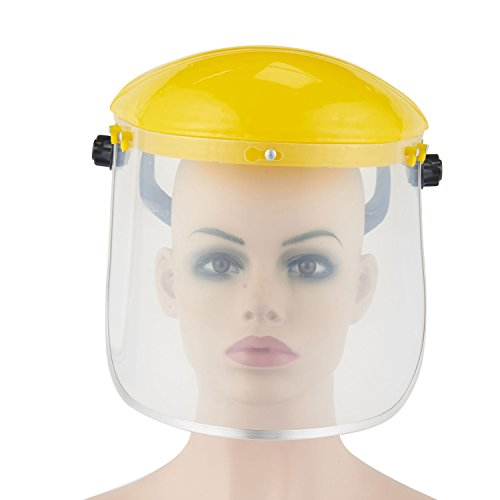 Joyutoy Clear Full Face Shield Safety Helmet Visor Mask – Face And Head Coverage- Ideal For Automotive, Construction, General Manufacturing, Mining, Oil/Gas W/ Cap (Yellow)