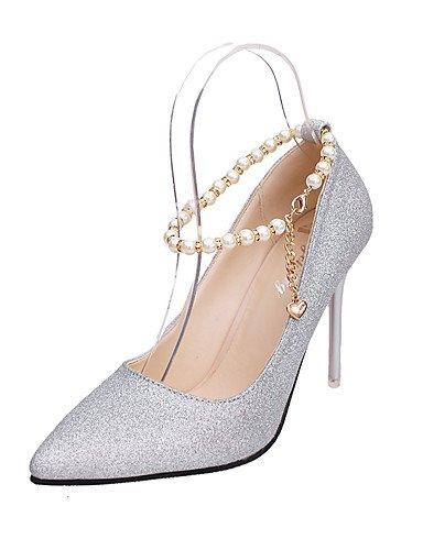 ZQ los zapatos de cuero sint¨¦tico talones de la ca¨ªda de la mujer / oficina en punta del dedo del pie zapatos de tac¨®n&?carrera / , silver-us6.5-7 / eu37 / uk4.5-5 / cn37 , silver-us6.5-7 / eu37 / red-us5.5 / eu36 / uk3.5 / cn35