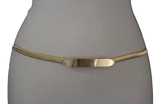 TFJ Women Fashion Elastic Skinny Metal Narrow Belt Hip High Waist Long Buckle S M L (Gold - lond skinny buckle) (Link Hip Belt)