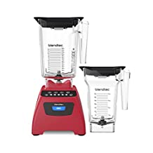 Blendtec Classic 575 Bundle with Plus and FourSide Jar, Poppy Red
