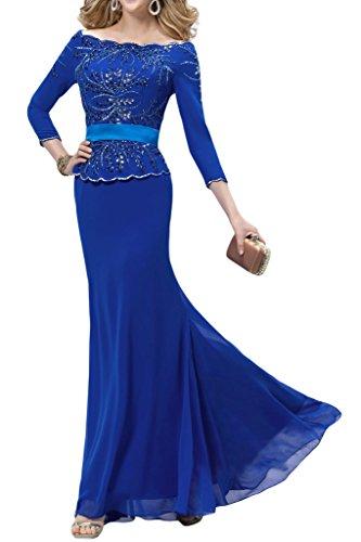 Festkleid 3 Mutterkleid Chiffon Damen Abendkleid Aermel 4 U Ivydressing Strass Ausschnitt Royalblau xztOn8w0R