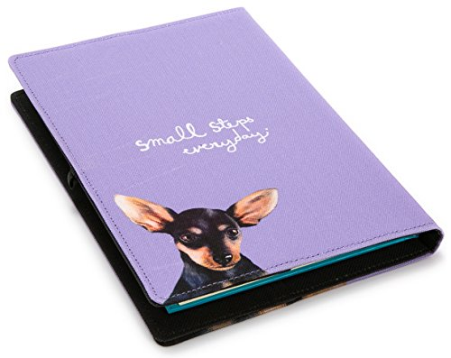 Chihuahua Print Refillable Notebook Cover, Size A5 Purple Color
