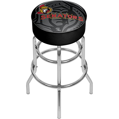 Trademark Gameroom NHL1000-OW-WM NHL Chrome bar Stool with Swivel - Watermark - Ottawa Senatorsa ()